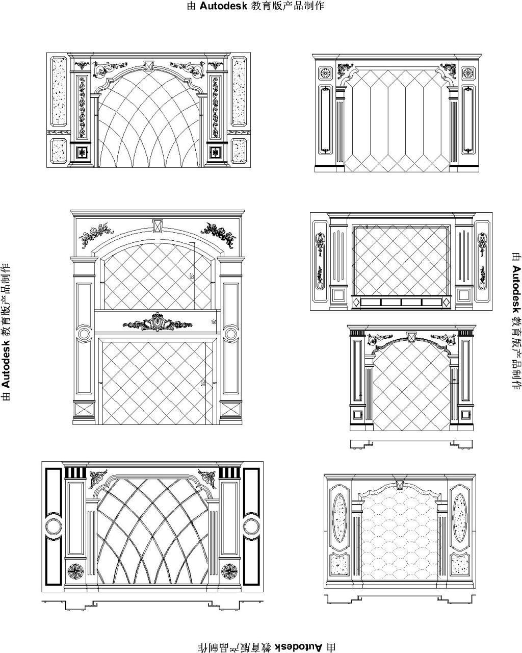 CAD 欧式石材背景墙 欧式背景墙 罗马柱背景墙 白色