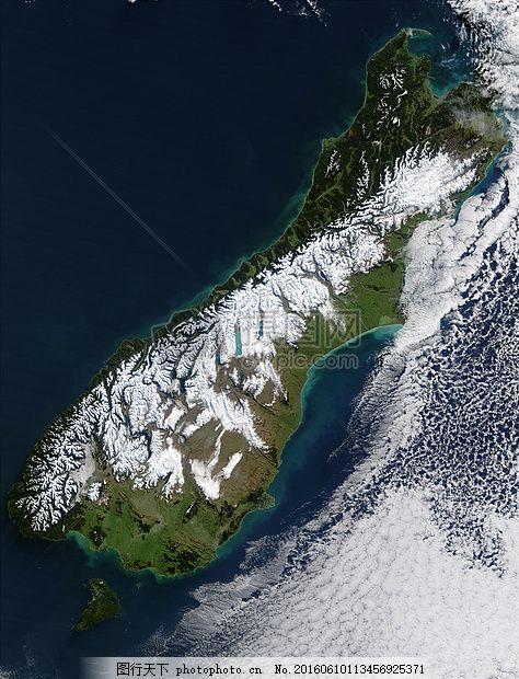 美丽的海南岛 新西兰 卫星照片 卫星图像 鸟瞰图 峡湾 冬天 冰镇海南
