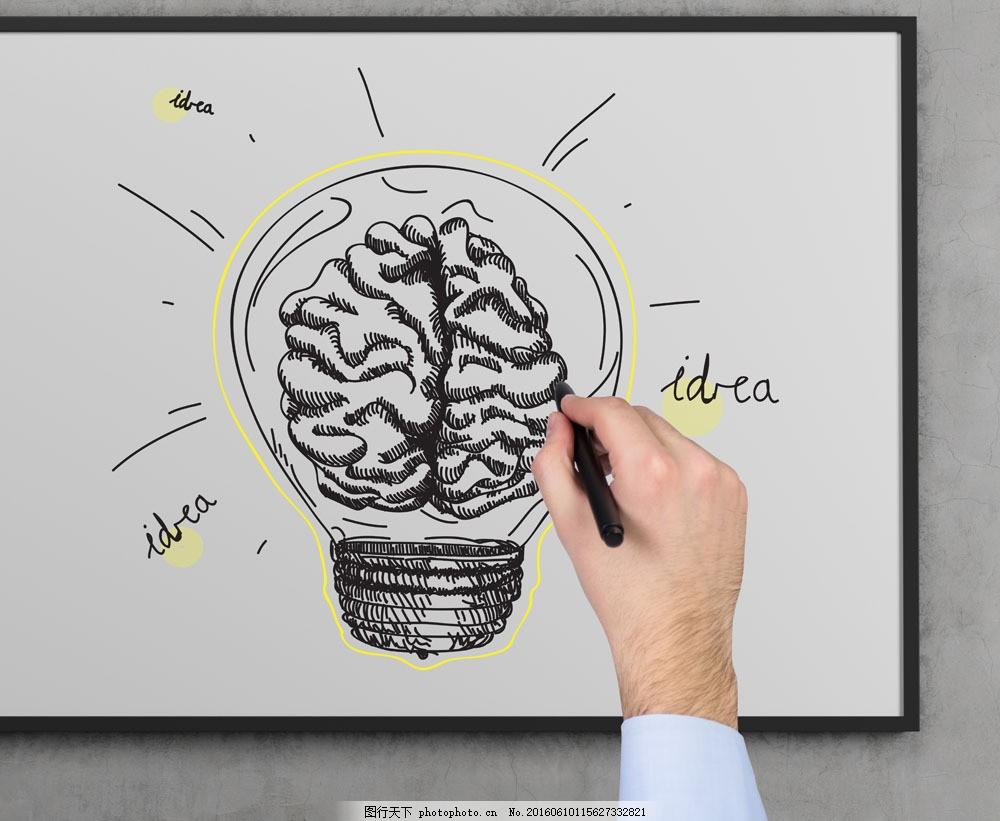手绘商务脑浆灯炮图片素材 手 手势 手臂 手绘商务图表 线描图片 创意