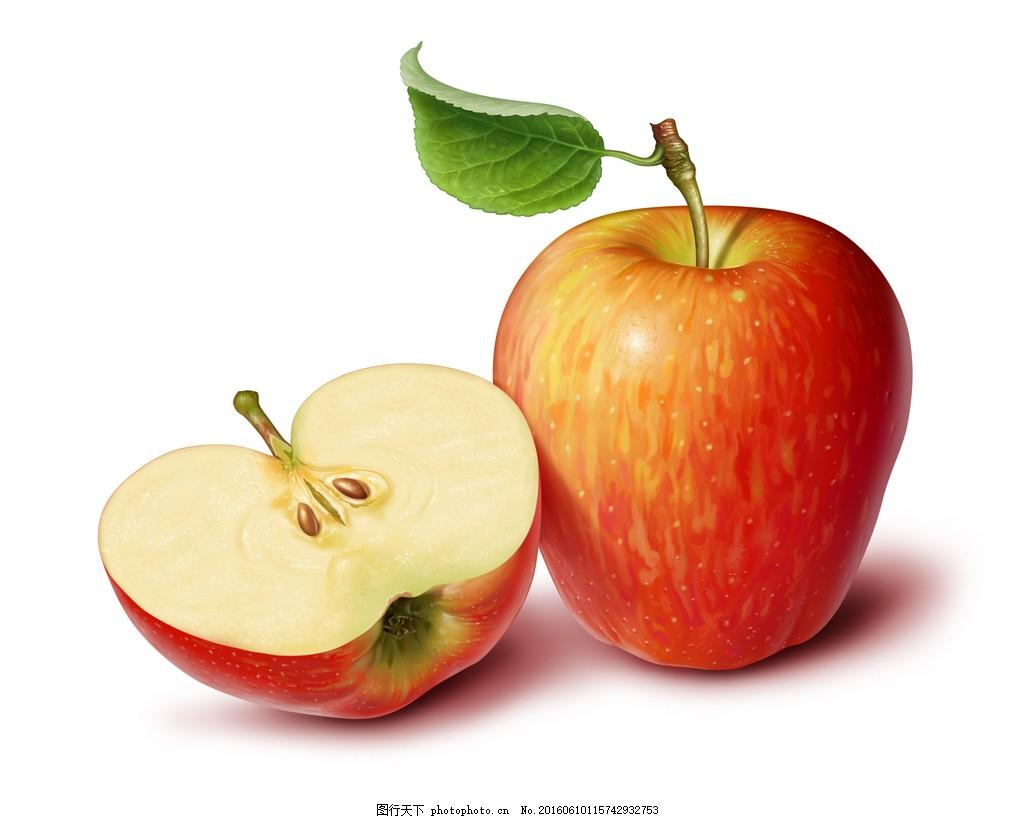 切开的苹果绿叶叶脉高清水果图片图片