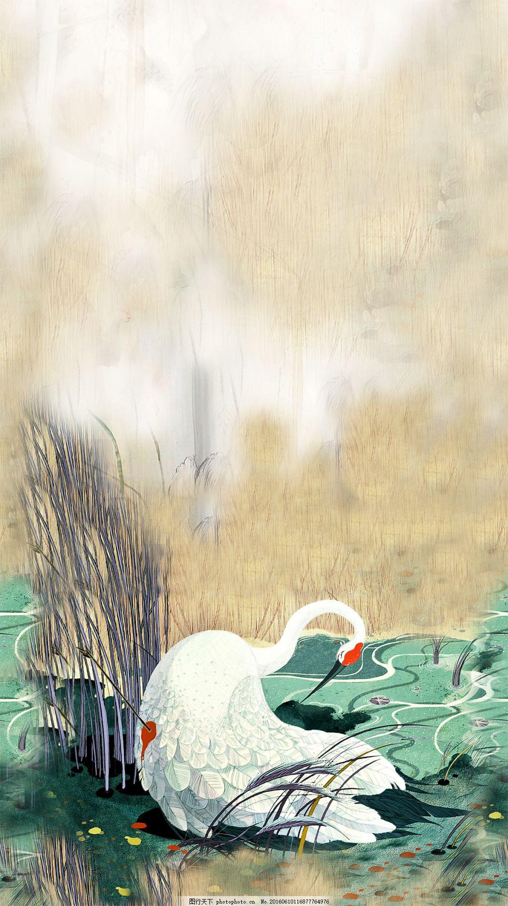 受伤的仙鹤 天鹅 仙鹤 芦苇 动物 荷塘 tif 白色 tif