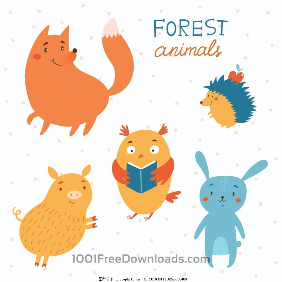 森林动物矢量集
