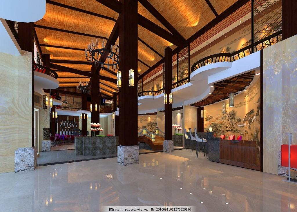 酒店大堂 新中式 酒店 大堂 毕业设计 多功能 设计 3d设计 室内模型