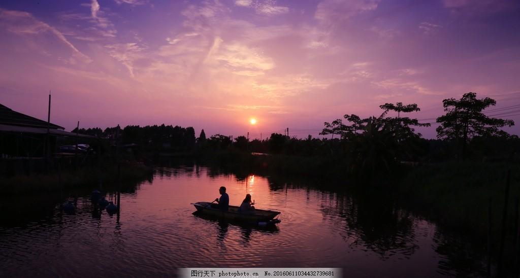 东莞 广东 水乡 麻涌 夕阳 日落 小船 剪影 摄影 自然景观 山水风景