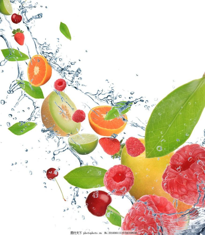 水果背景素材图片素材 橙子 草莓 猕猴桃 水 水珠 叶子 绿叶 水果
