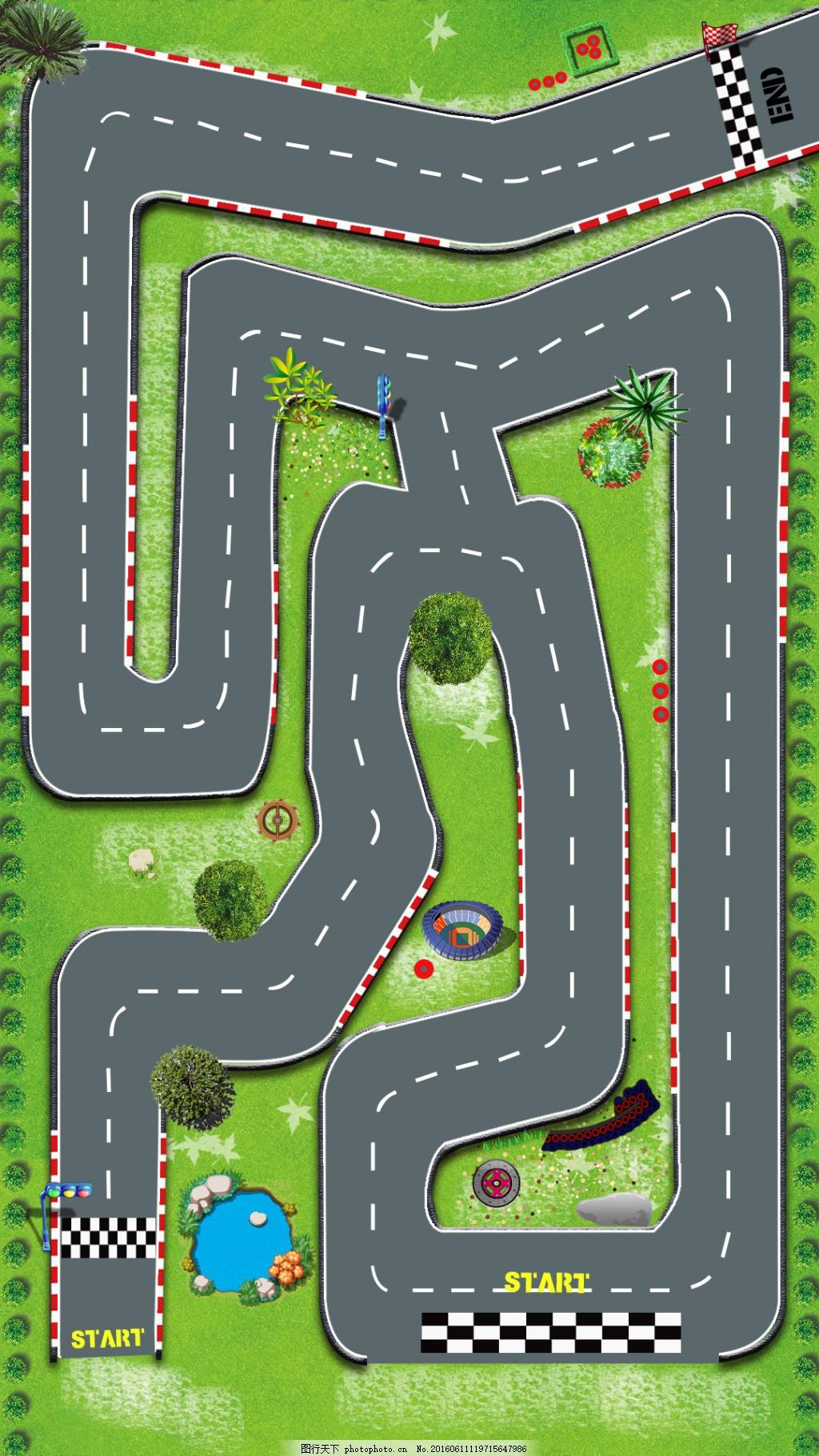 赛车游戏的跑道界面设计图 赛道 绿色 游戏 树 竞赛 psd