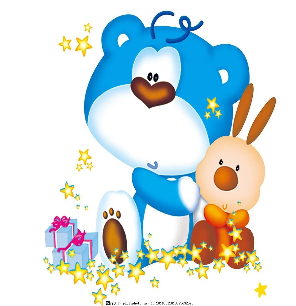 熊和兔子 卡通动物 手绘 韩版卡通 动物图案 拟人化动物 动物 简笔画