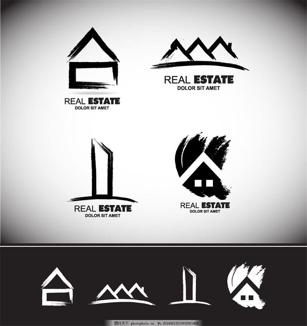 水墨房屋标志 图标 创意设计 照相机 镜头 创意图标 商务 商业标志