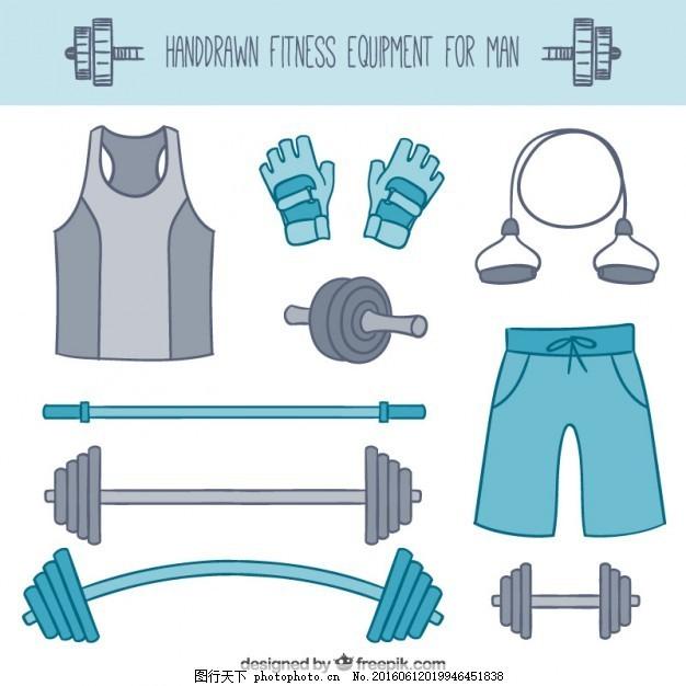 男子徒手健身器材 手 运动 人 健身 健康 蓝色 健身房 手绘 跑步 绘画