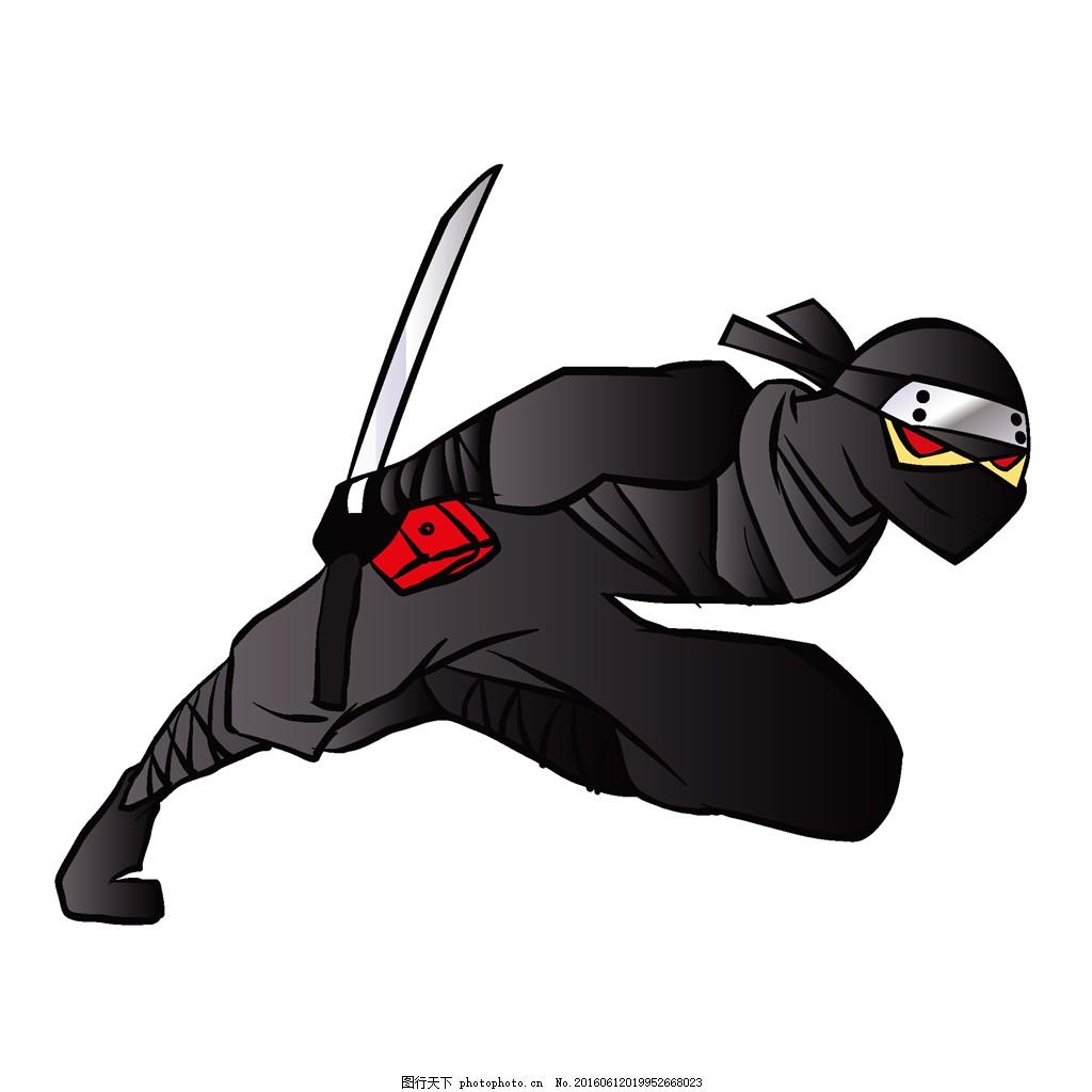 日本忍者 日本武士 日本武术 卡通人物漫画 卡通插画 logo设计 标志