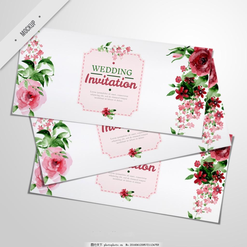 手绘 手绘海报 海报设计 海报 banner 手绘花卉 唯美 花纹 婚庆邀请卡