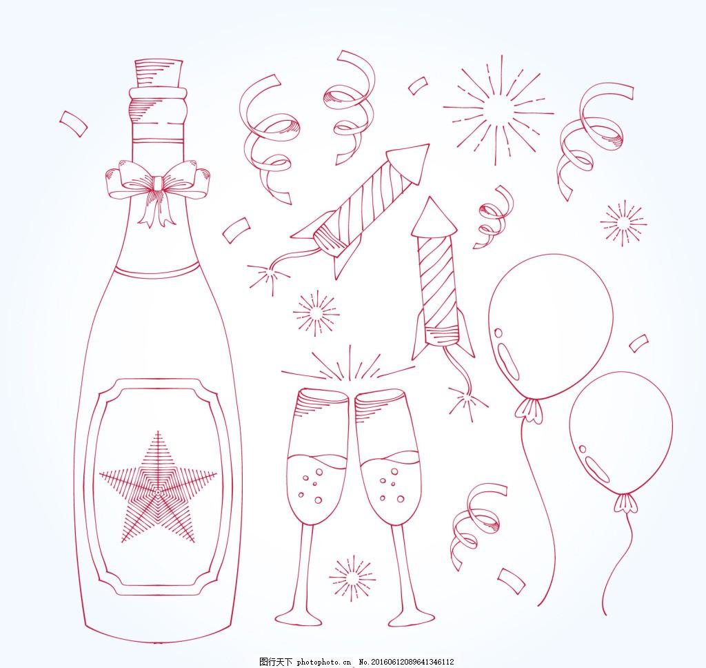 带新年元素的包装瓶香槟酒瓶图片