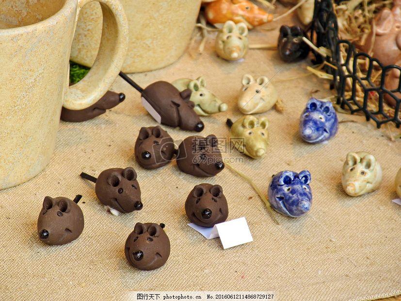 手工制作的小老鼠 粘土 小鼠 工艺品 动物 俑 可爱 小小 制造 手工