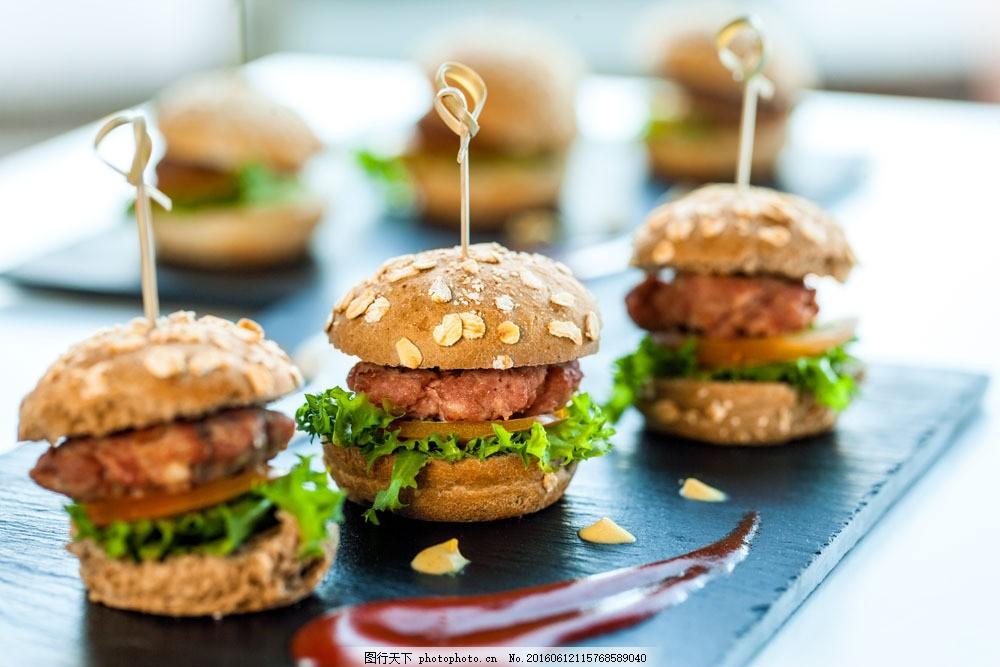可爱小型汉堡 可爱小型汉堡图片素材 美食 糕点 烘焙 外国美食