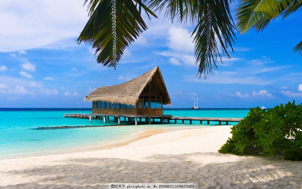 唯美沙滩上小木屋风景图片下载 海边 小木屋 大海 海景 海水