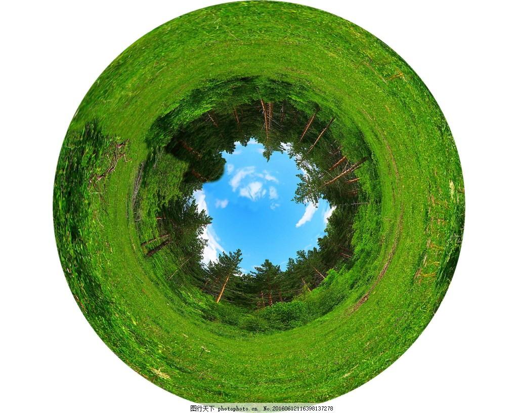 绿色树林 非主流风景 圆形景观 草地 树木 非主流森林