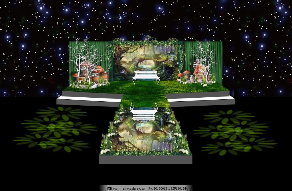 爱丽丝森系婚礼主舞台 爱丽丝主题婚礼设计 森系婚礼 森林婚礼 创意婚