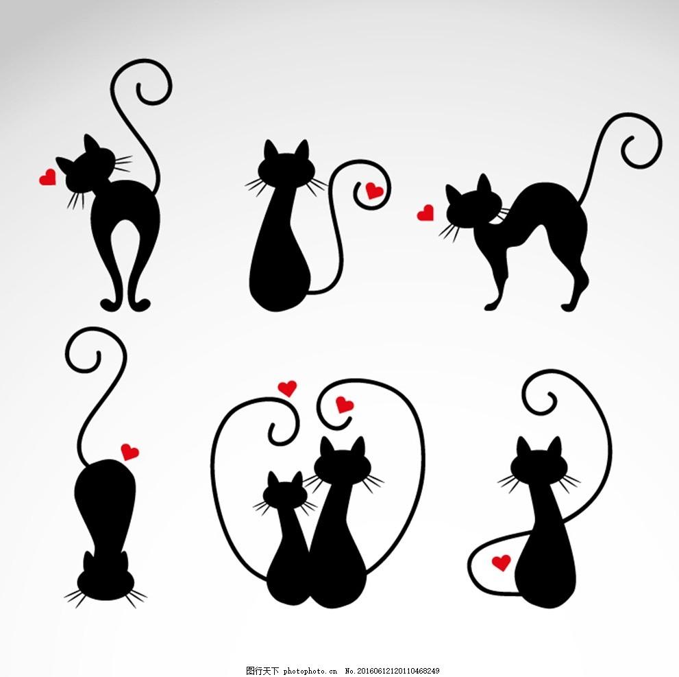 猫 剪影 猫爪 猫爱心 黑猫 简影 阴影 矢量 墙贴 背景墙 壁纸 壁画