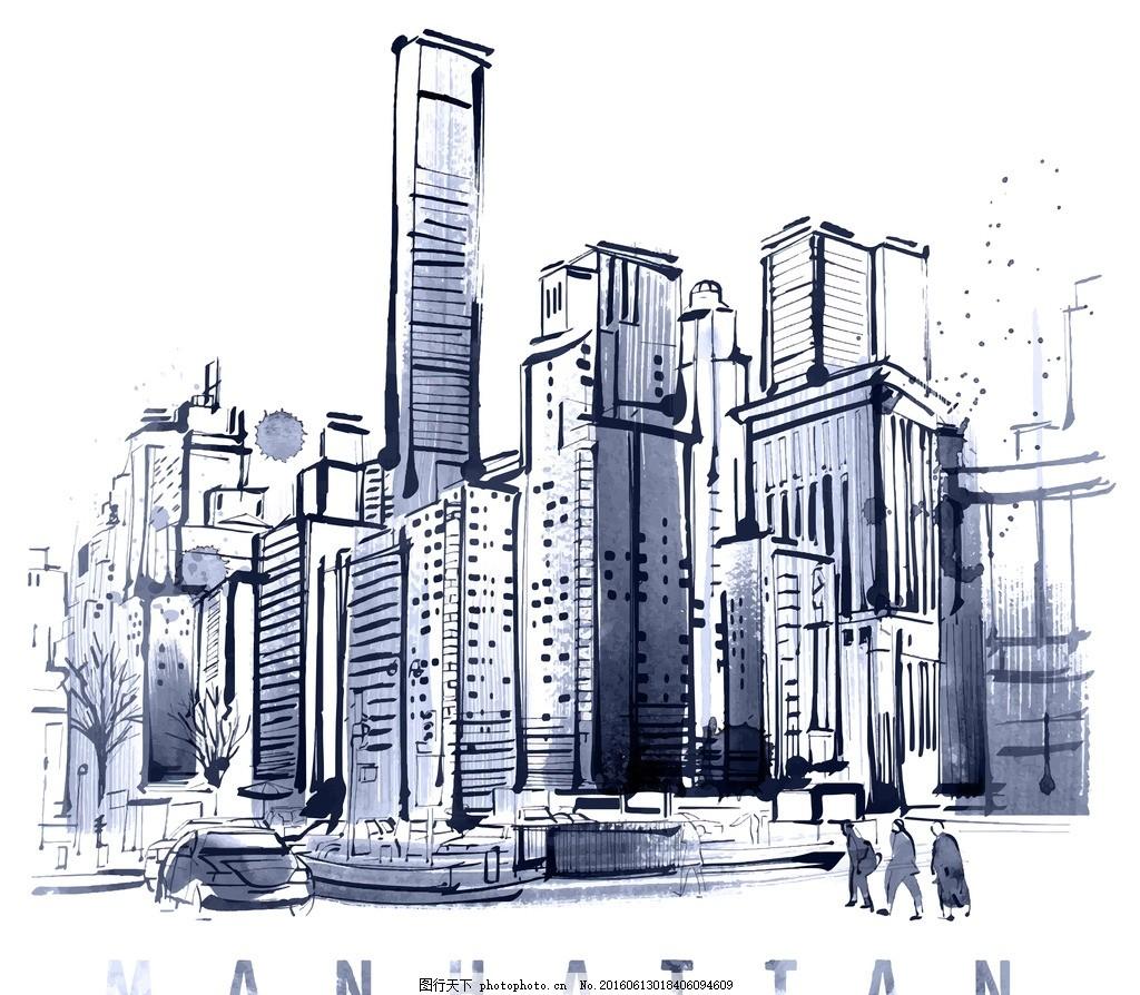 手绘水墨高楼大厦 手绘 水墨 高楼大厦 晕染 速写 设计 动漫动画 风景