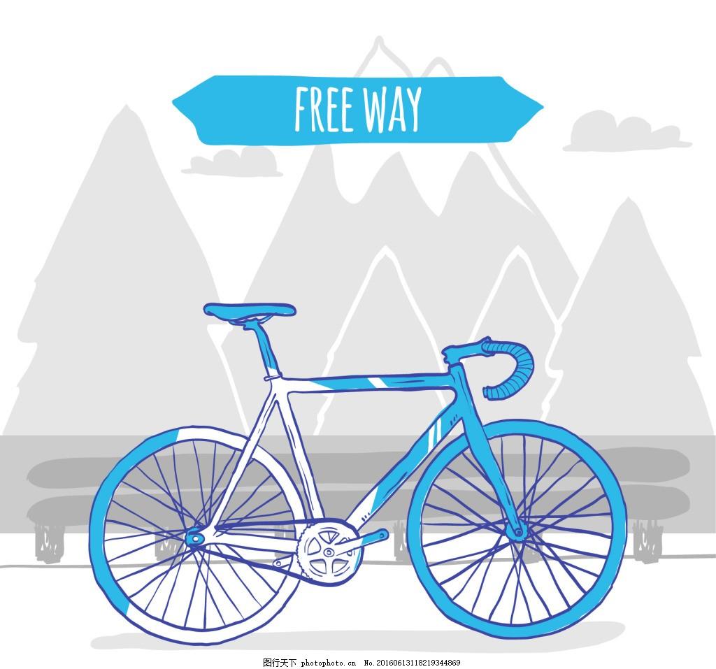 手绘蓝色自行车老式背景