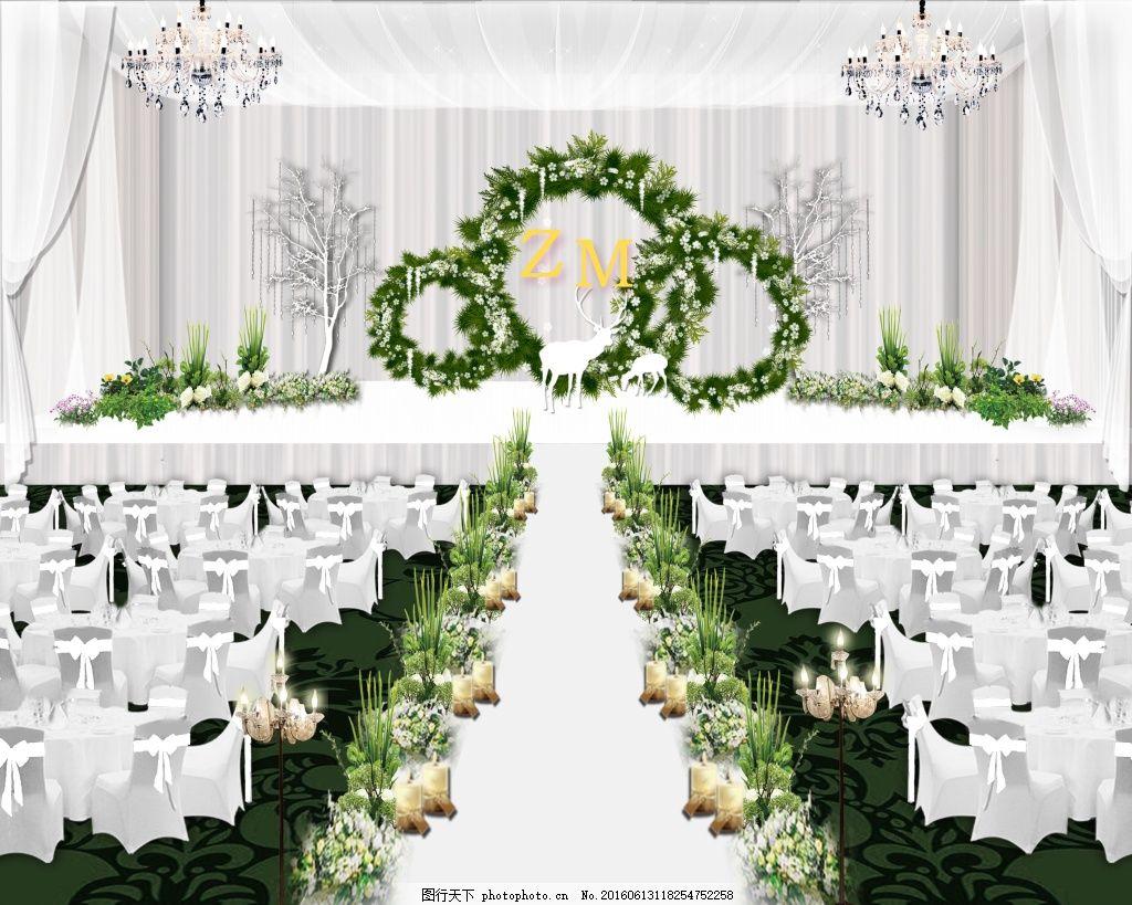 psd 背景 婚礼设计 婚礼主题背景 森系 绿色植物 psd