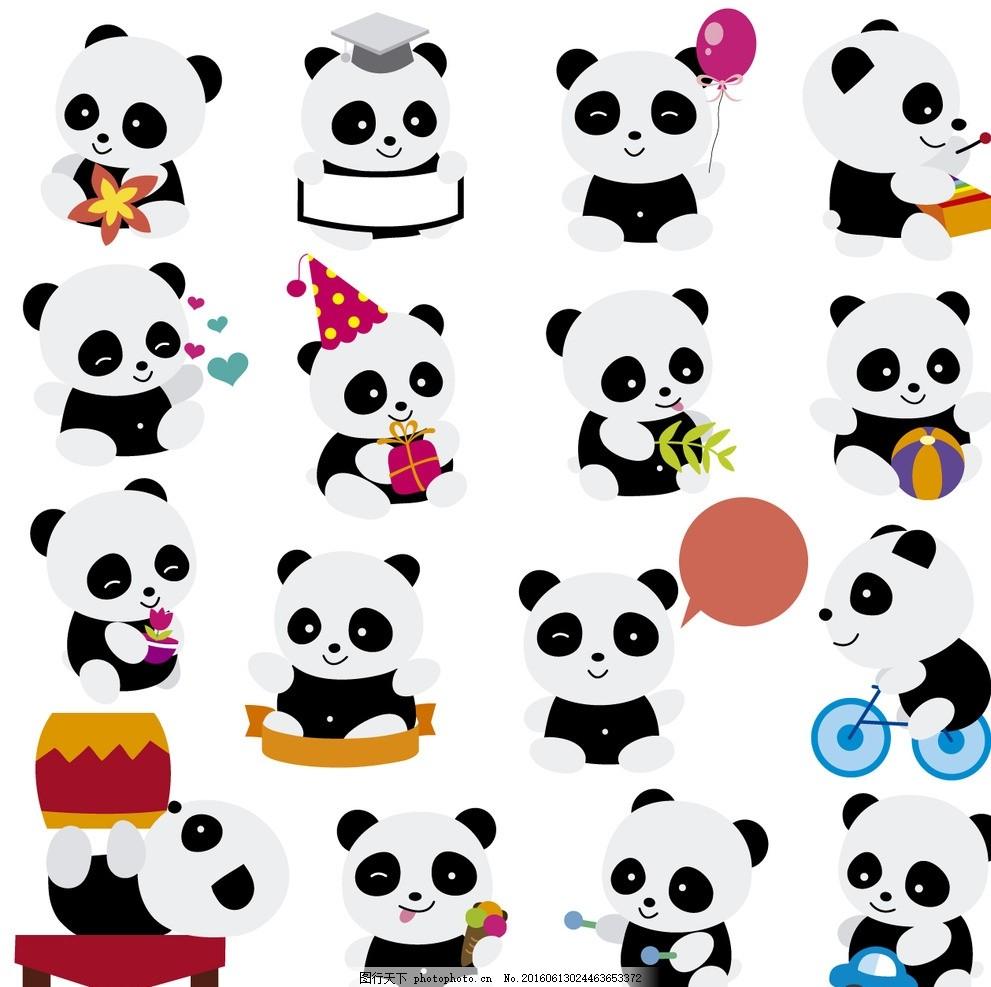 可爱 贴纸 卡通 熊猫 动物 矢量素材 卡通熊猫 熊猫贴纸 人物角色