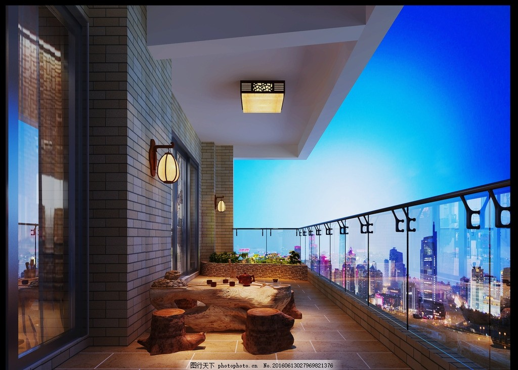 室内阳台木护栏图片