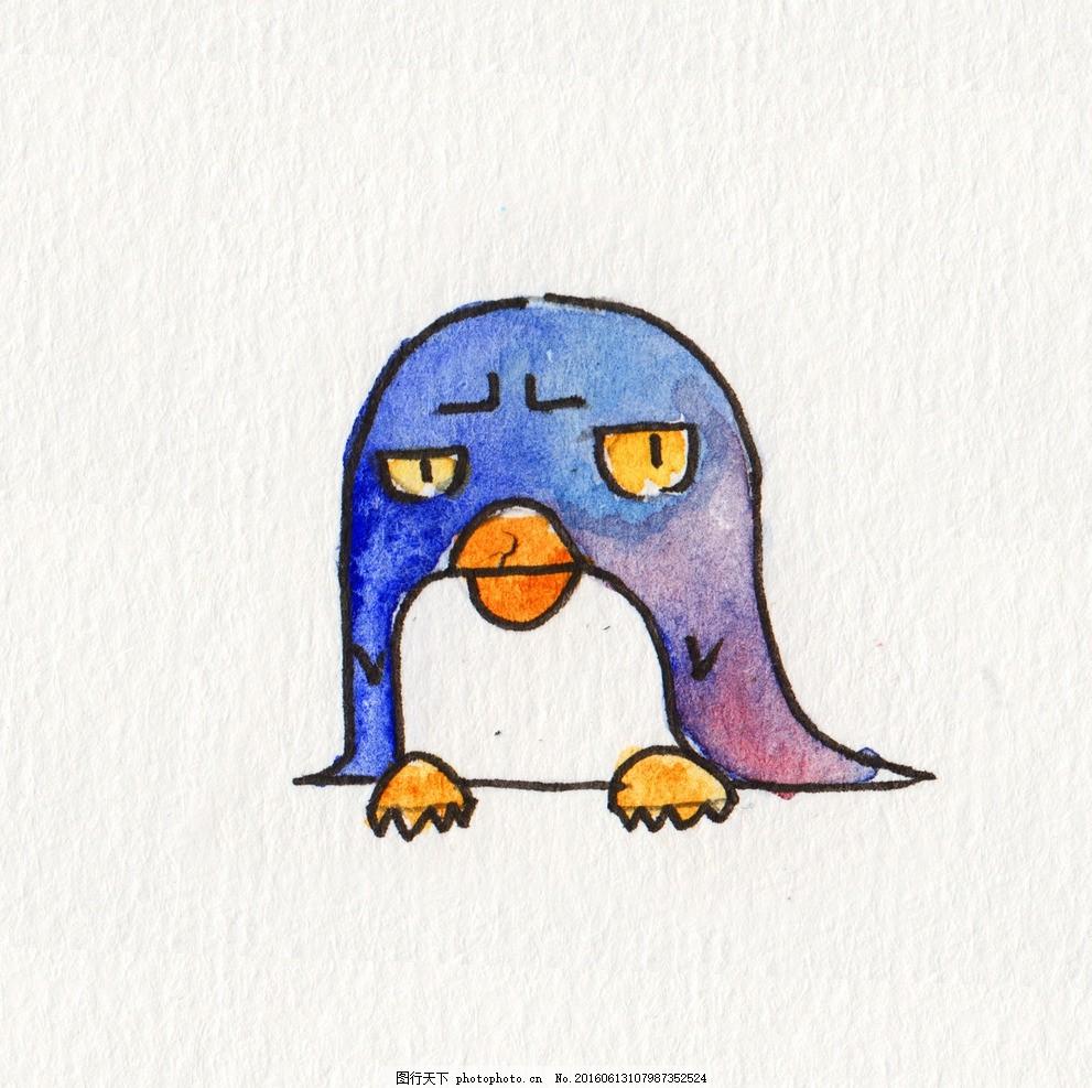 水彩手绘企鹅