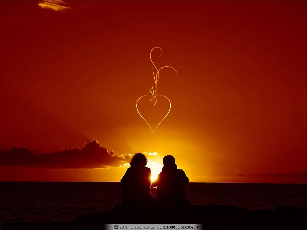 唯美浪漫情侣 唯美浪漫情侣高清图片下载 黄昏 傍晚 海边 温馨