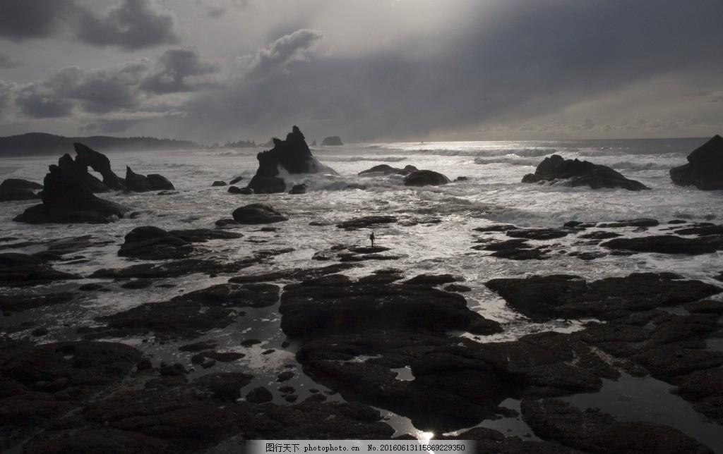 大海 沙滩 石头 天空 多云 素材天下 摄影 自然景观 自然风景