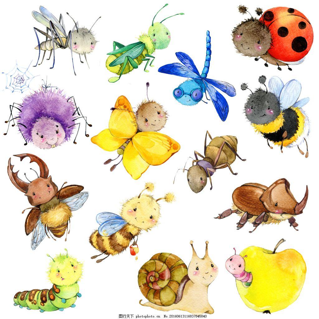 昆虫水彩画高清图,蜜蜂 蜗牛 卡通-图行天下图库