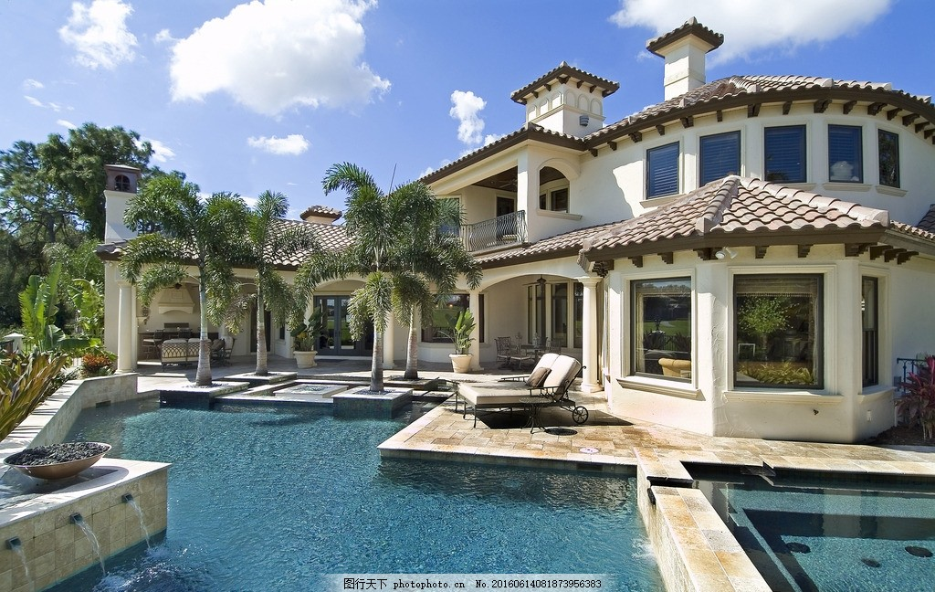 别墅 游泳池 豪宅 复式 欧式 园林 棕榈 建筑 房子 房屋 热带