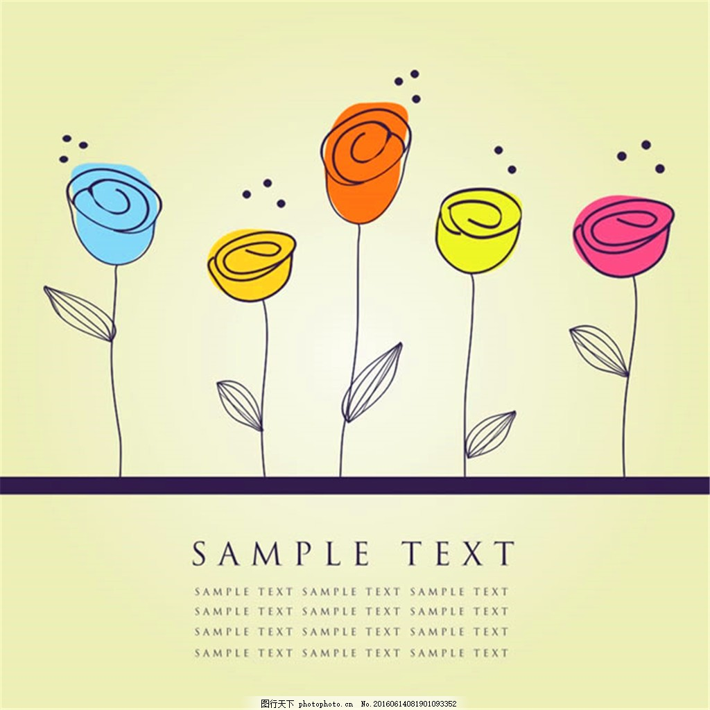 花朵简笔画矢量图 花朵矢量图 花朵图片 小花 可爱 彩色 线条