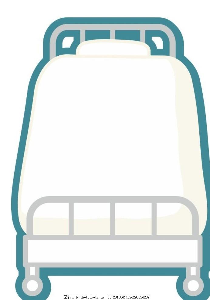 儿童床 床 医院床 插画 简笔画 线条 线描 简画 黑白画 卡通 手绘