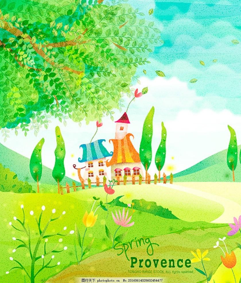 城堡插画 风景插画 漫画 童话 美丽插画 乐园 彩虹 暑假 夏季 童真