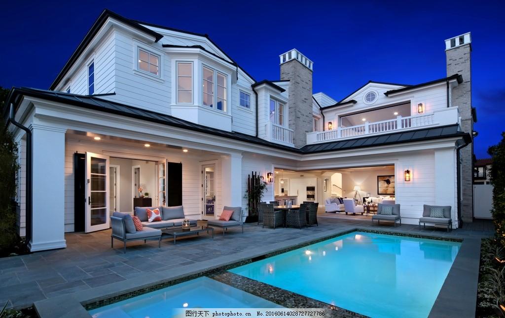 别墅 游泳池 躺椅 复式 豪宅 沙发 茶几 餐桌 客厅 园林 棕榈