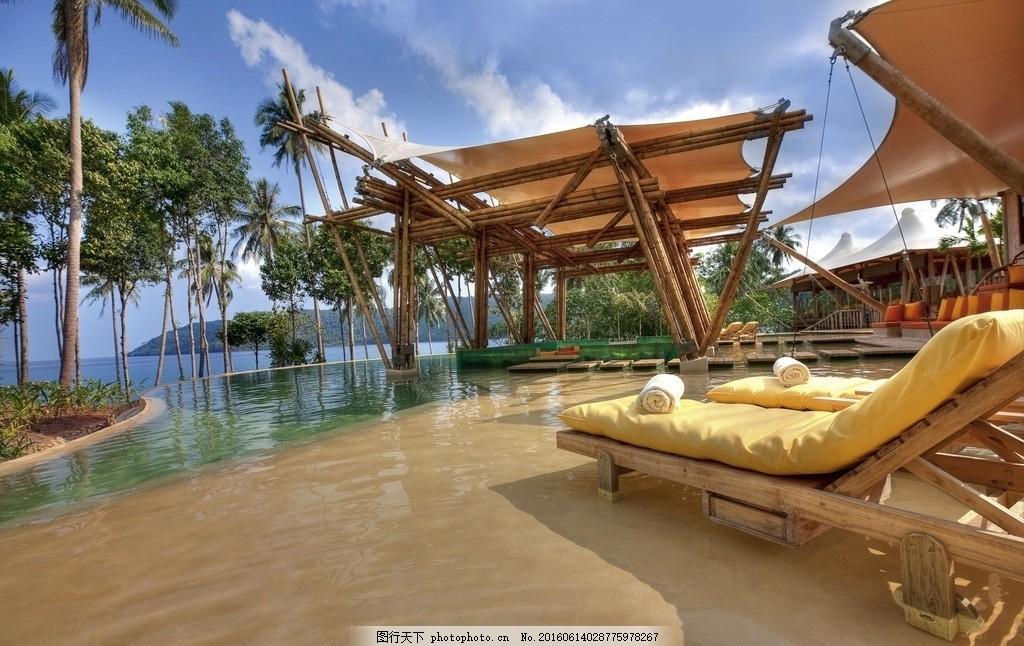 度假村 别墅 酒店 游泳池 椰子树 海边 海洋 海景 躺椅 太阳伞 露天