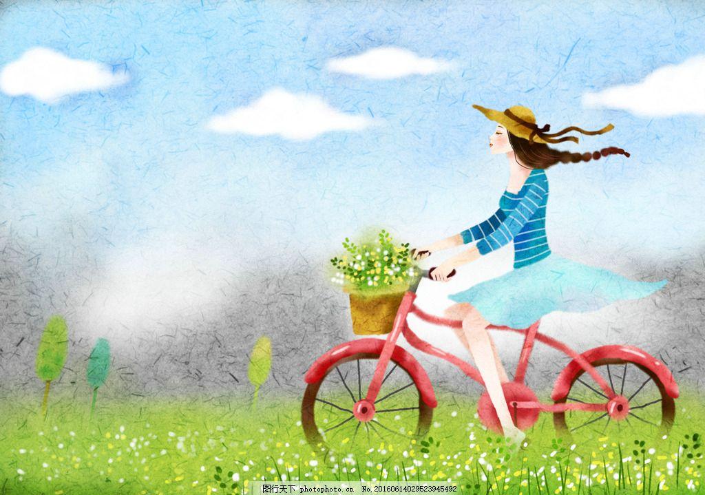 图片下载 春天 骑单车美女 插画设计 psd素材 韩风插图 设计 广告设计