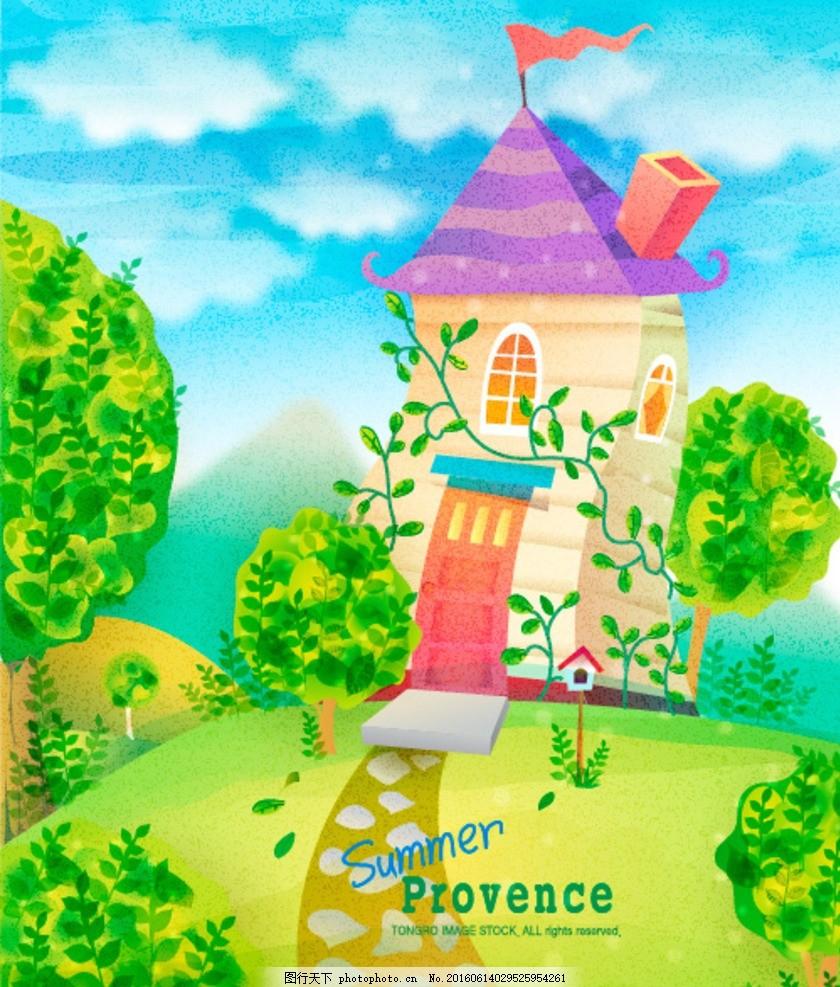 跳跃 61海报 涂鸦 卡通 开心 童年 玩伴 欢乐 祝六一儿童节 城堡 花园