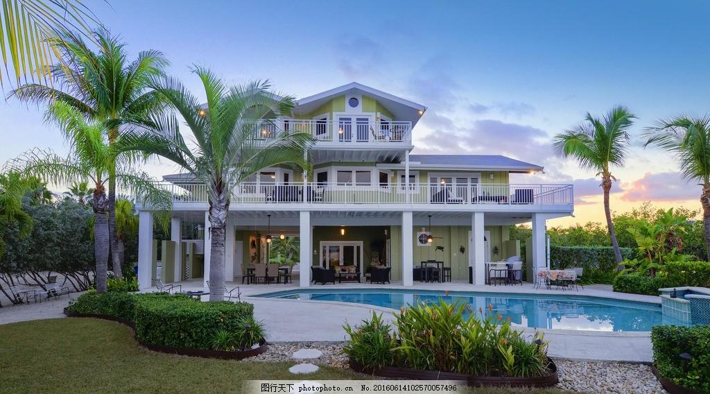 别墅,游泳池 园林 草地 豪宅 棕榈 建筑 房子 房屋-图