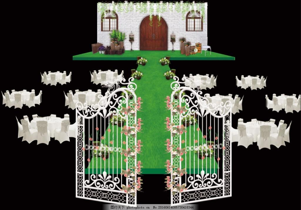 欧式田园婚礼 背景墙 紫藤 木桩 花艺 铁门