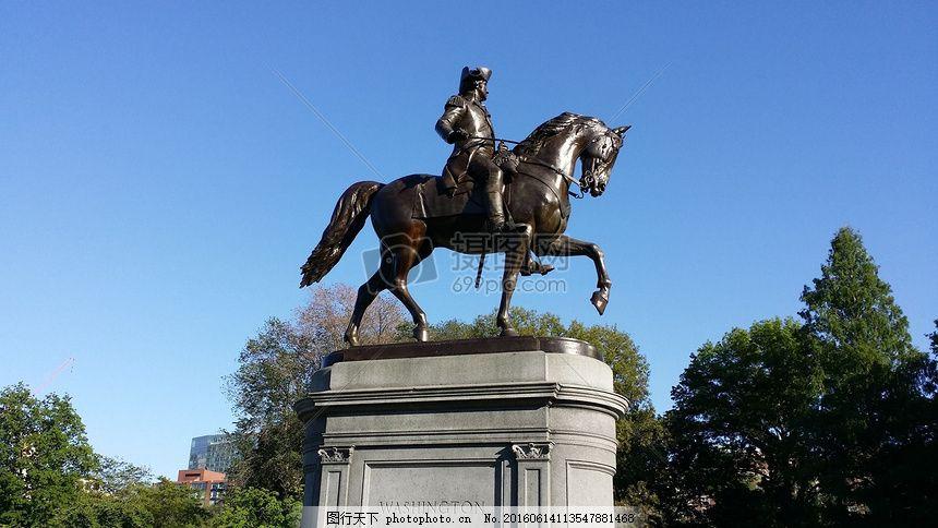 骑马勇士的雕像 波士顿 华盛顿 常见的 里程碑 公园 马萨诸塞州