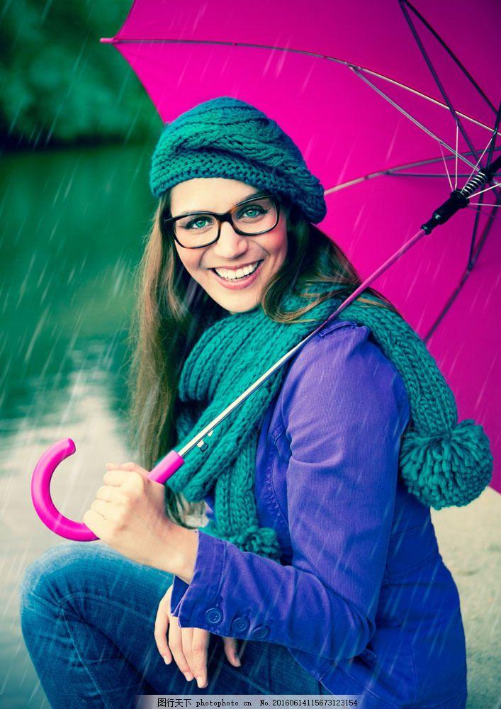 雨中打伞的女人 雨中打伞的女人图片素材 下雨 美女 外国人物 外国