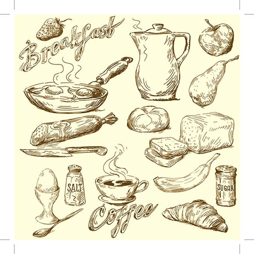 蛋糕 蛋糕素材 刀叉 食物 矢量插画 手绘 手绘食物 手绘食物模板下载