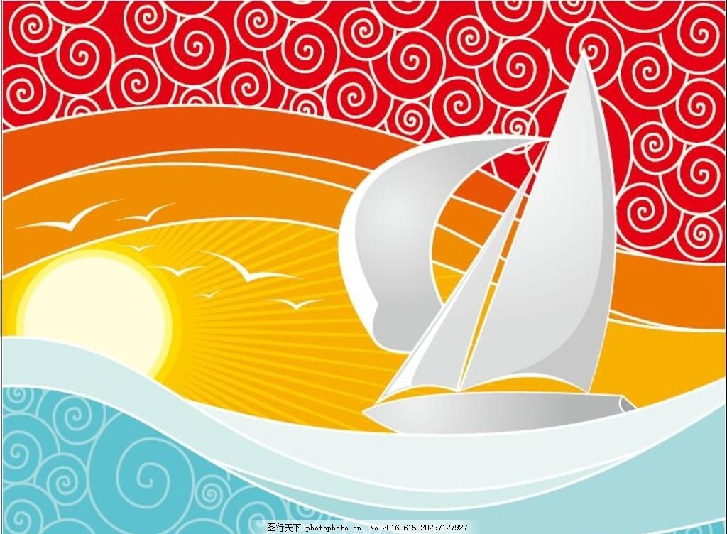 日出阳光 扬帆起航 日出 阳光 大海 帆船 海浪 浪花 扬帆 起航 海鸟