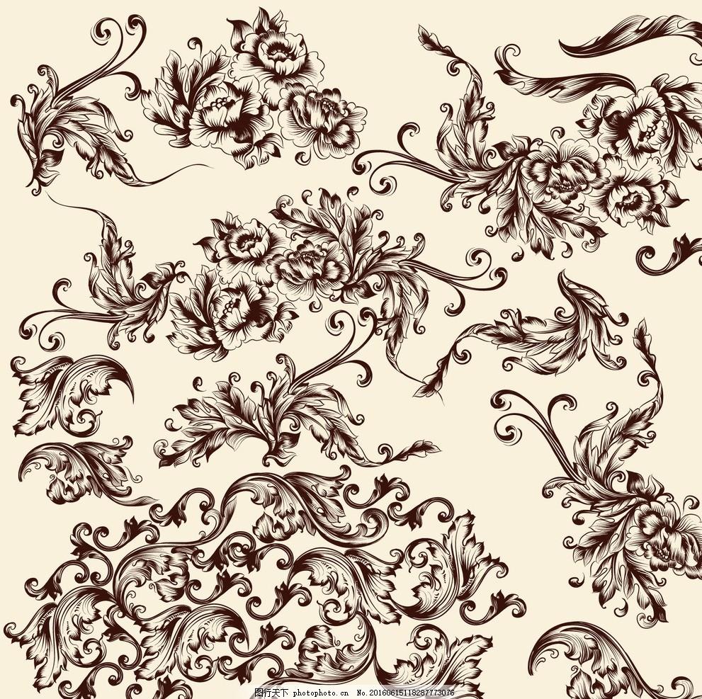 复古欧式花纹 花边 装饰 图案 怀旧 花角 欧式花纹边框 欧式花纹花边