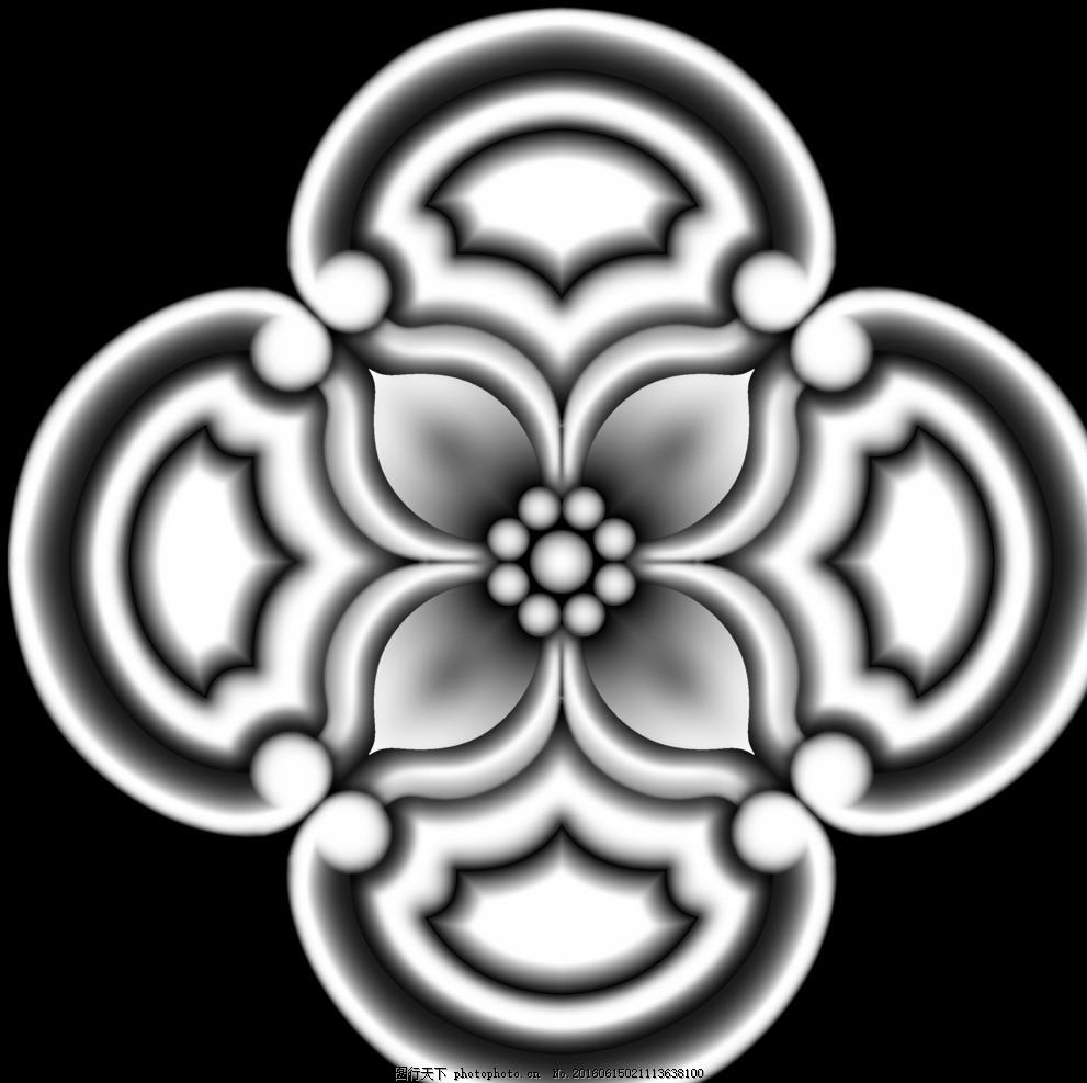 圆形欧式门上床头洋花贴花灰度图 浮雕图设计 洋花门上花 镂空洋花