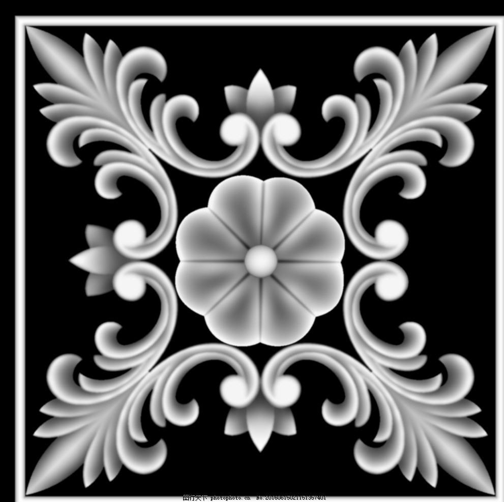 方形欧式门上床头洋花贴花灰度图 浮雕图设计 洋花门上花 镂空洋花