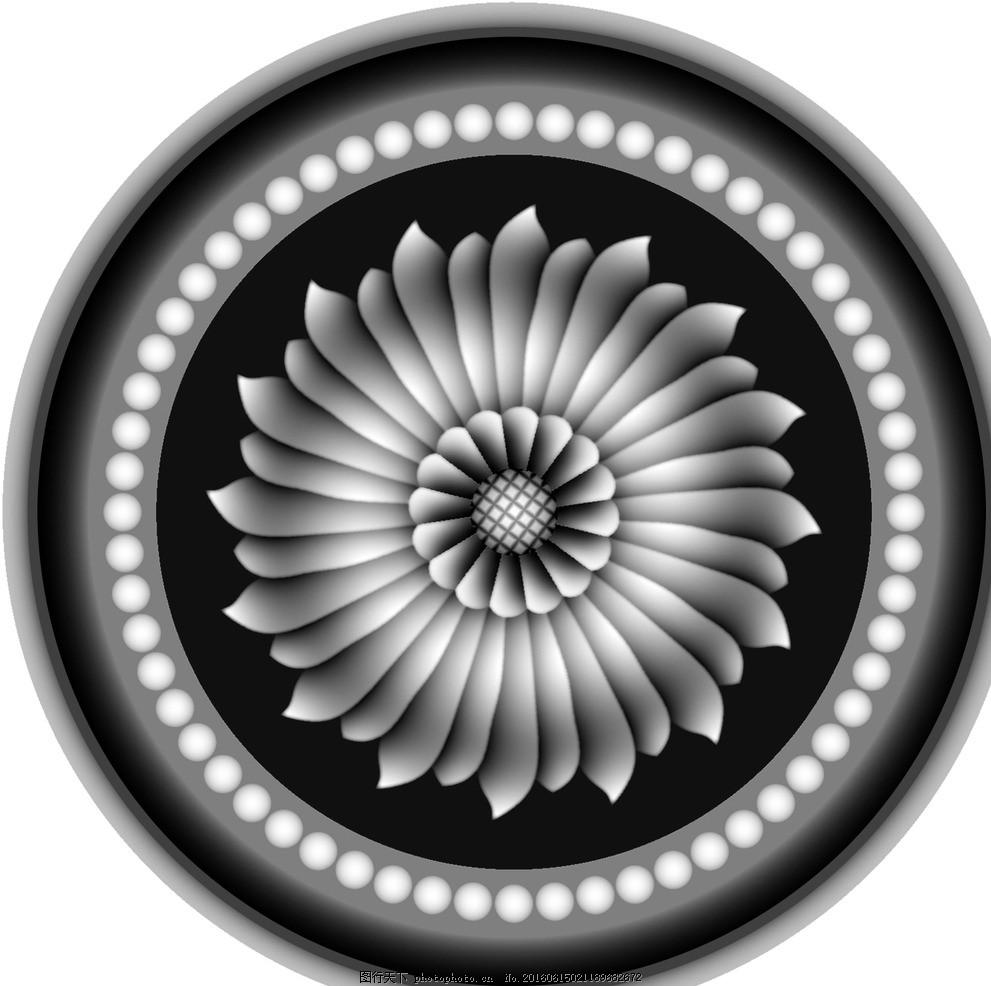 圆形欧式门上床头洋花贴花灰度图
