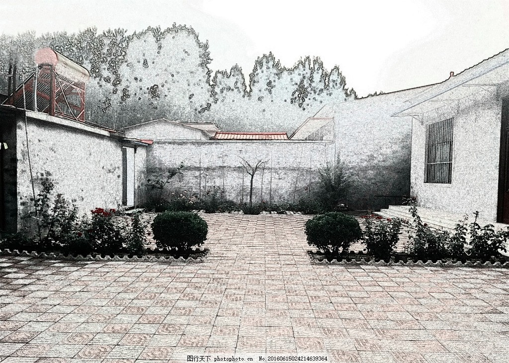 农家小院 现代 农家 风景 手绘 院子 设计 自然景观 建筑园林 100dpi
